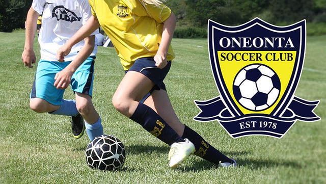 Players compete for the ball. Superimposed is the OSC logo